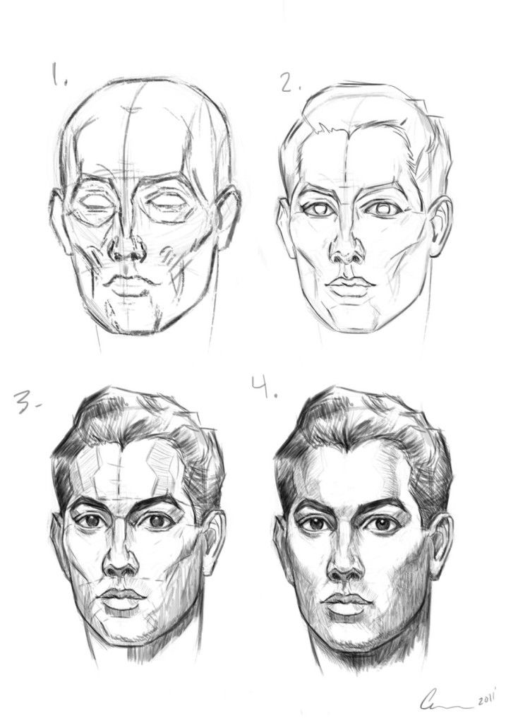How To Draw The Male Head Andrew Loomis Drawing Techniques Drawing People