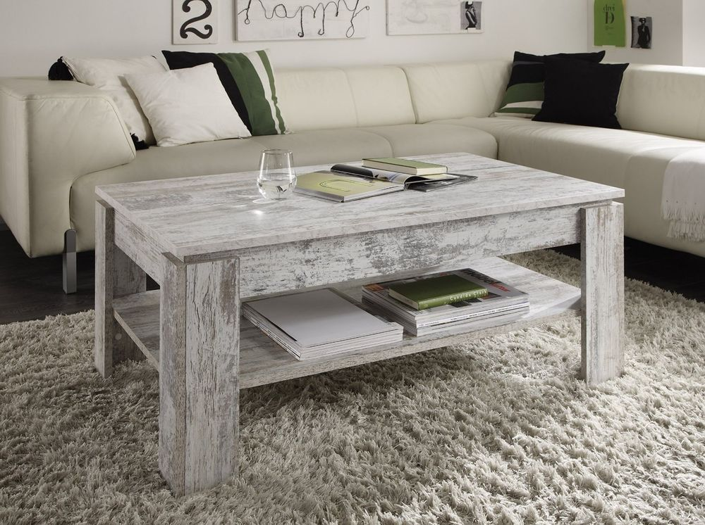 Shabby Chic White Pine Coffee Table Rustic Wooden Living Room New Side