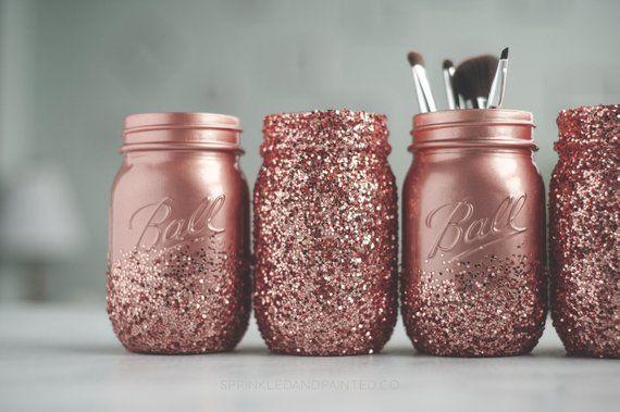 4 Rose Gold Glitter Mason Jar Centerpiece, Organizing Jars, Home Decor, Parties, and Showers, Dorm Decor #masonjarbathroom