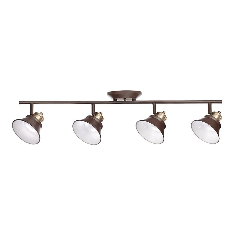 Oil Rubbed Bronze And Antique Br Integrated Led Track Lighting Kit C1573 The Home Depot