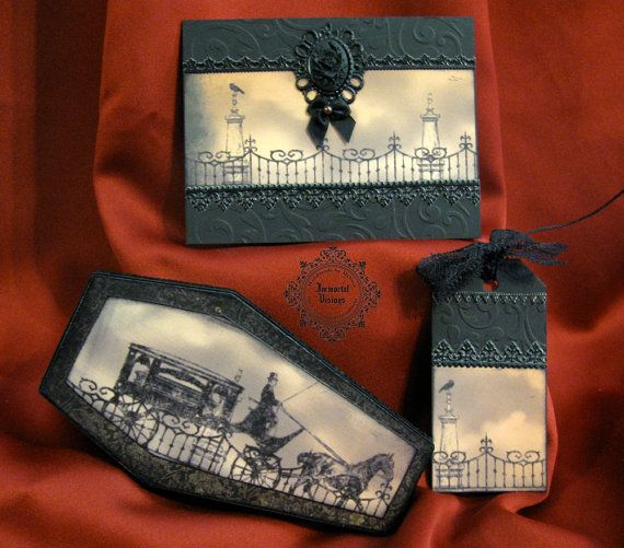 gothic halloween goodie bag | Halloween Coffin Box, Greeting Card and Tag - Victorian Hearse ...