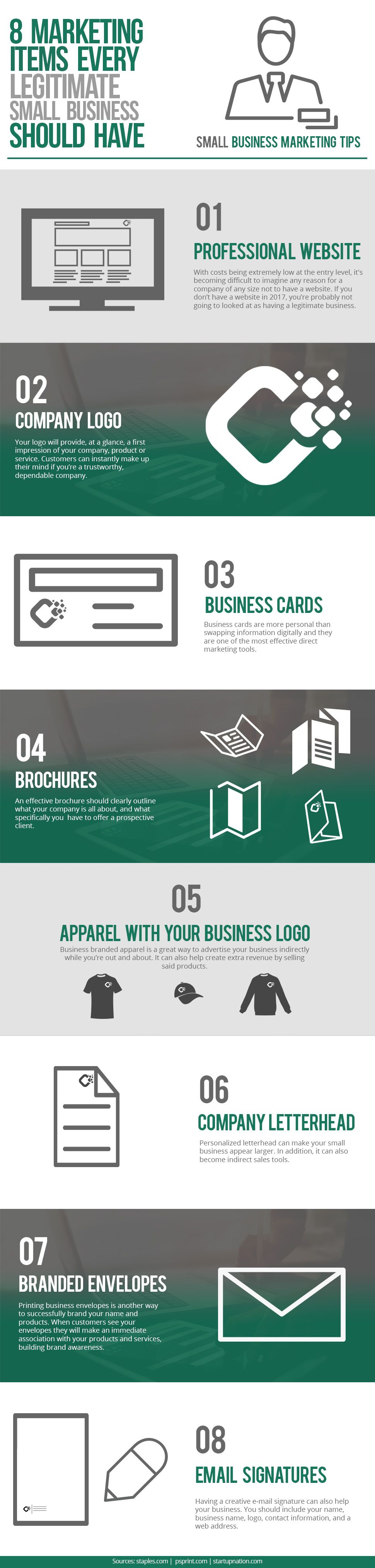 8 Marketing Items Every Legitimate Small Business Should Have #Infographic