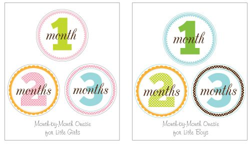 Month-by-Month Onesie Printables