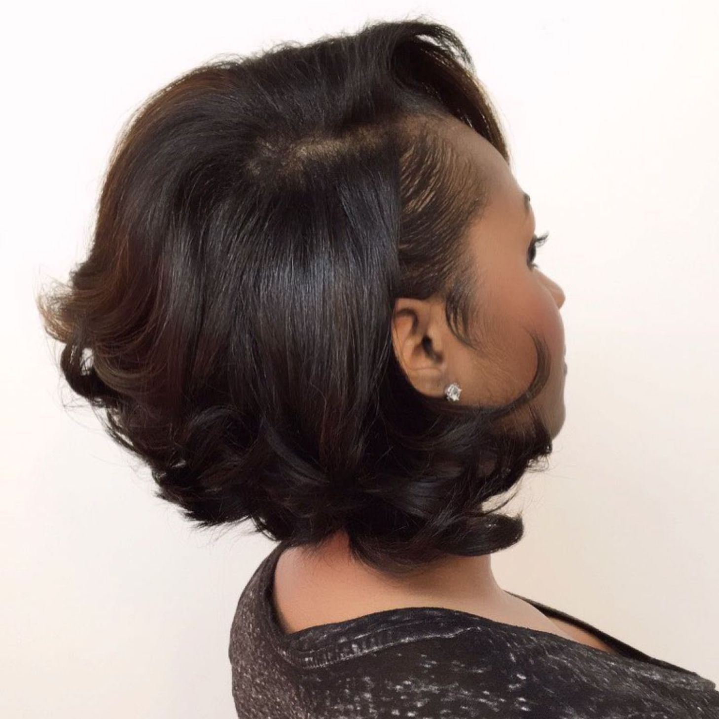 Dark Brown Bob With Curled Ends Relaxed Hair Hair