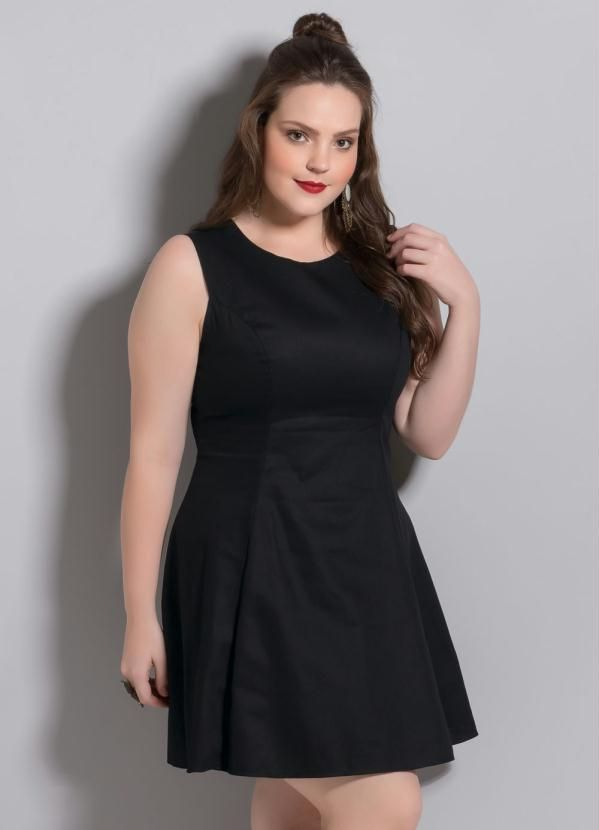 f1d80ba8e Quintess - Vestido Evasê Preto Plus Size - Quintess | Short dresses ...
