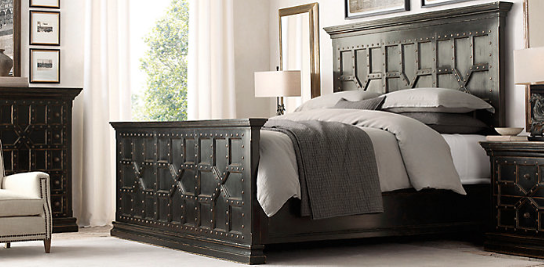 Restoration hardware bedroom - Restoration Hardware 17th C Castello Bed Shown In Antiqued Black Walnut Finish