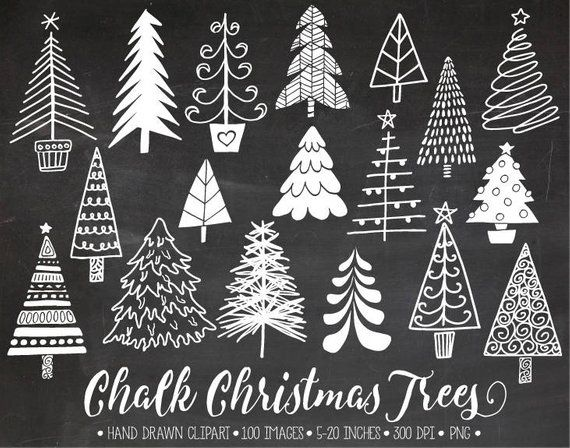 Chalkboard Christmas Tree Clip Art. Hand Drawn Chalk Christmas Illustrations. White Doodle Winter Clipart for Gift Tags, DIY Greeting Cards.