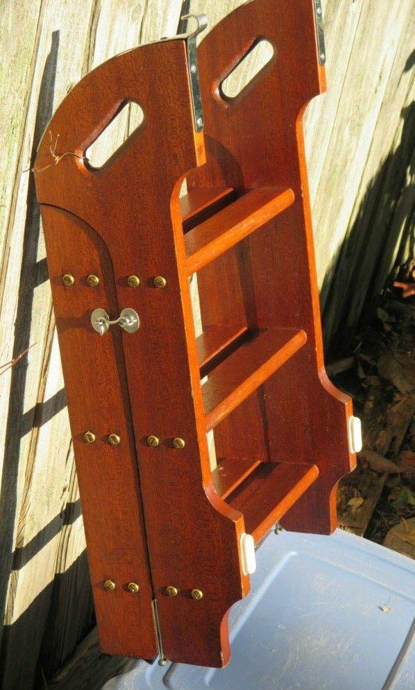 Yacht Ladder Boat Marine Hard Wood Folding Lock 6 Step Stainless