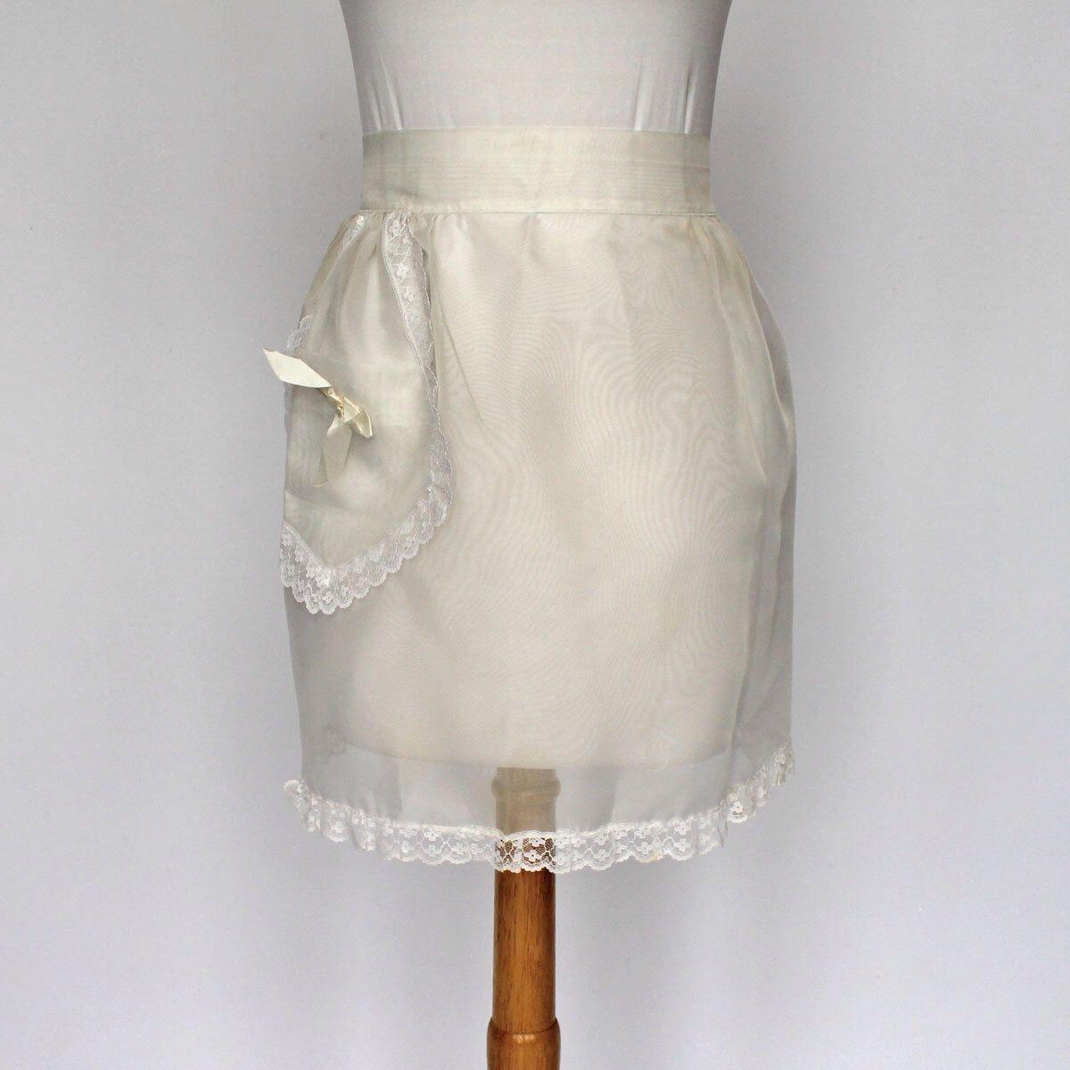 White apron lace trim - 50 S 60 S Sheer White Half Apron Lace Trim Pocket Bride Apron