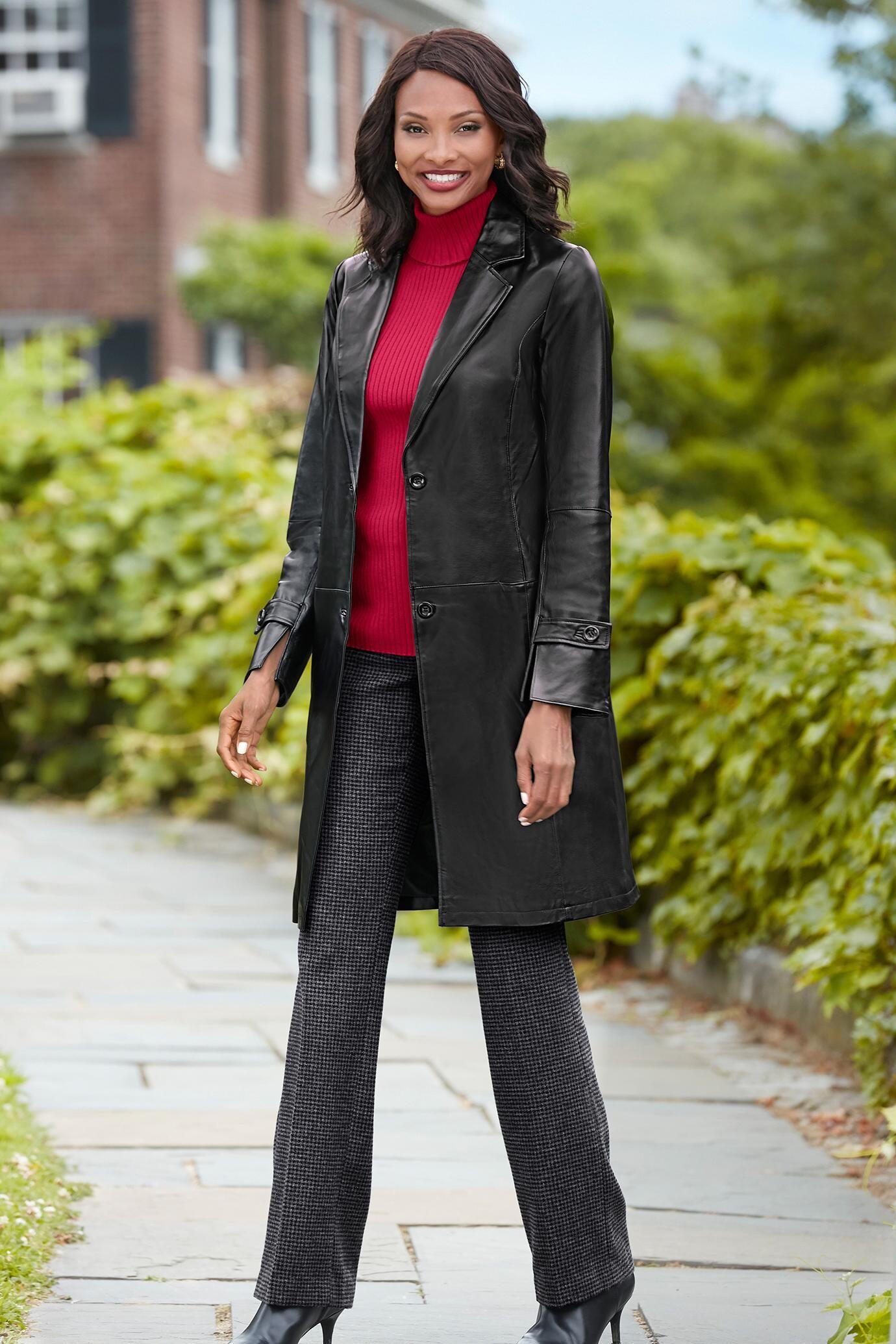 The Newbury 3/4Length Genuine Leather Coat Classic Women