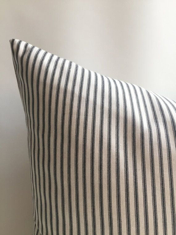 One Black Cream French Ticking Stripe Pillow Cover Cotton Cushion