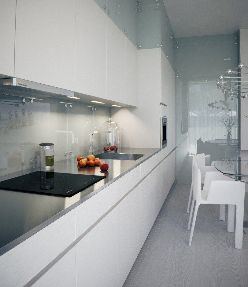 Visualizations Of Modern Apartments That Inspire: Visualization Sleek Narrow Kitchen White Reflective Splash