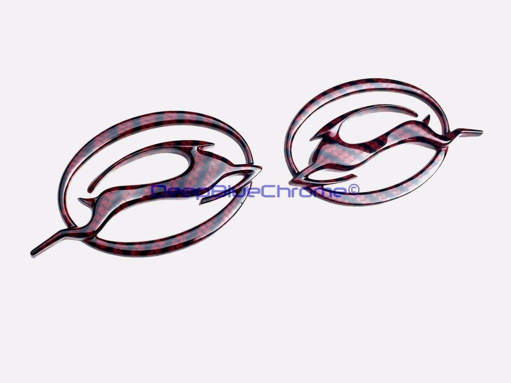 Chevy Impala Red Black Carbon Fiber Emblems X2 Pair 00 09 Oem Rear