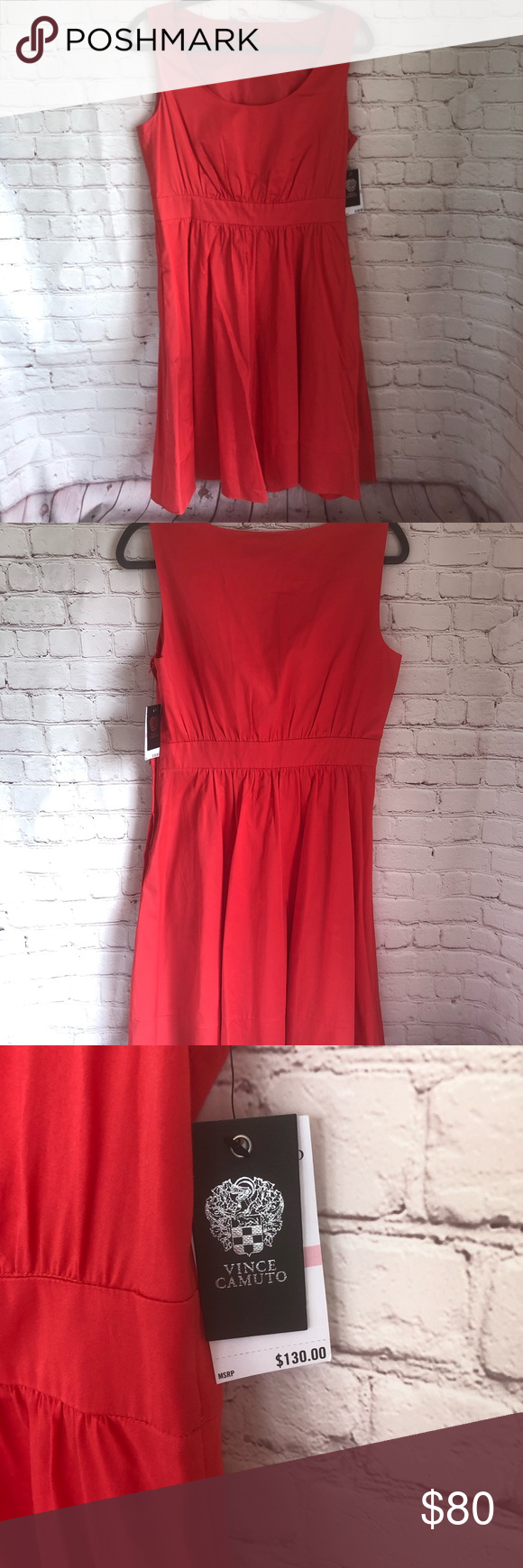 Vince Camuto St Tropez Dress Bnwt This Color Is So Beautiful It S A Mix Of Red Pink And Coral Ve Long Maxi Shirt Dress Clothes Design Fit And Flare Dress [ 1740 x 580 Pixel ]