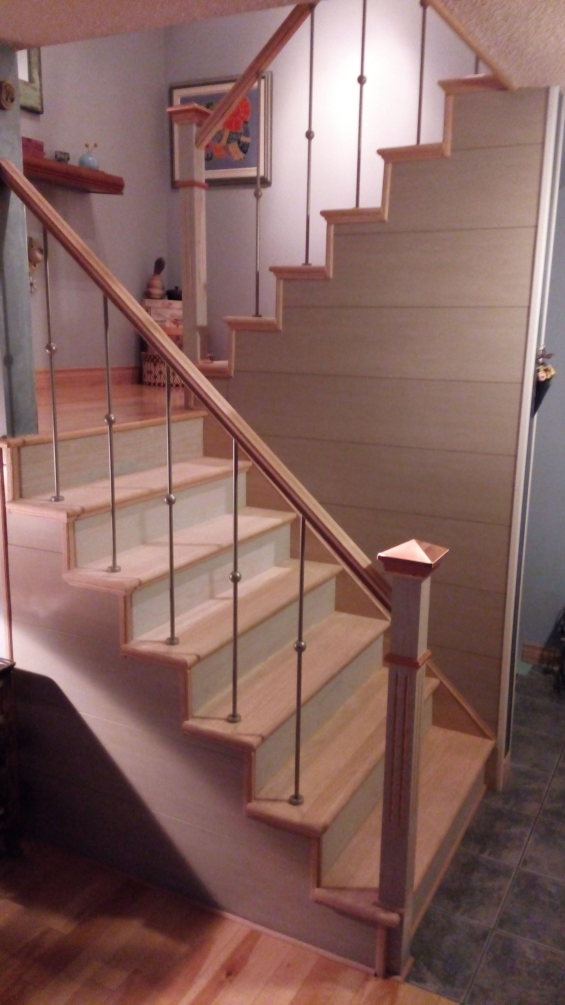 Etonnant After Renovation Oak Stairs With Silver Nickel Spindles And A Recycled  Feature Wall Product, Called