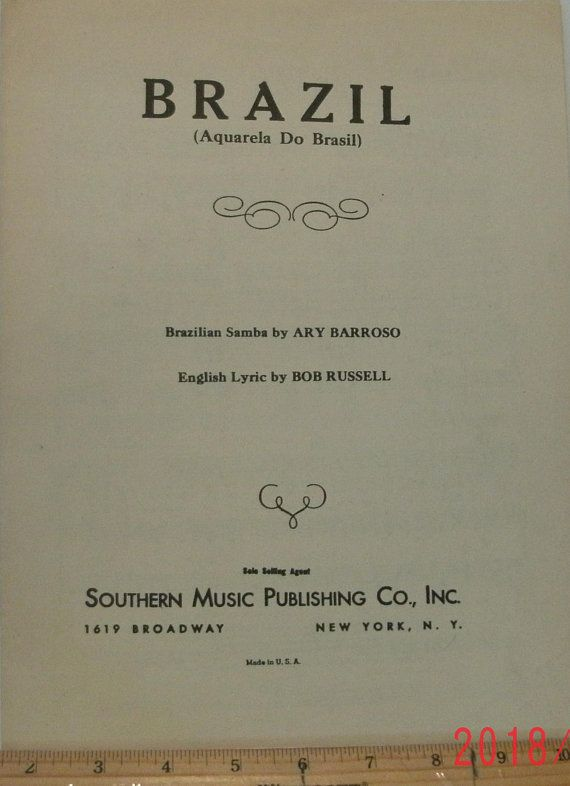 Brazil Aquarela Do Brasil Brazilian Samba Sheet Music By Ary