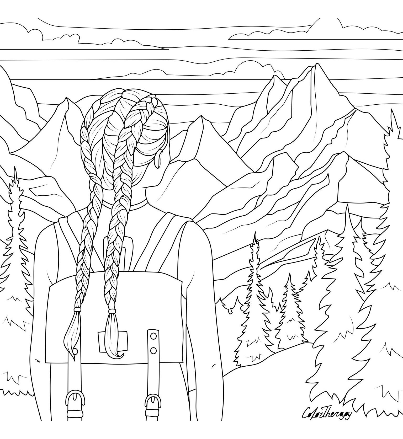 Hiking Coloring Page Cute Coloring Pages Cool Coloring Pages