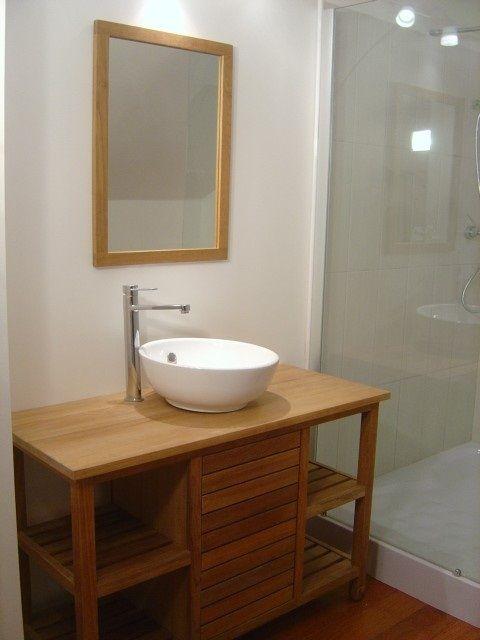 meuble salle de bain bois avec vasque