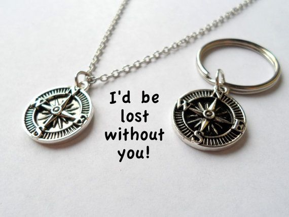 Wedding Gift For Friend Male: Compass Keychain, Couples Keychain Gift, Husband Wife Gift
