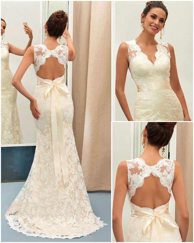 Charming v neck backless lace mermaid wedding dress wedding