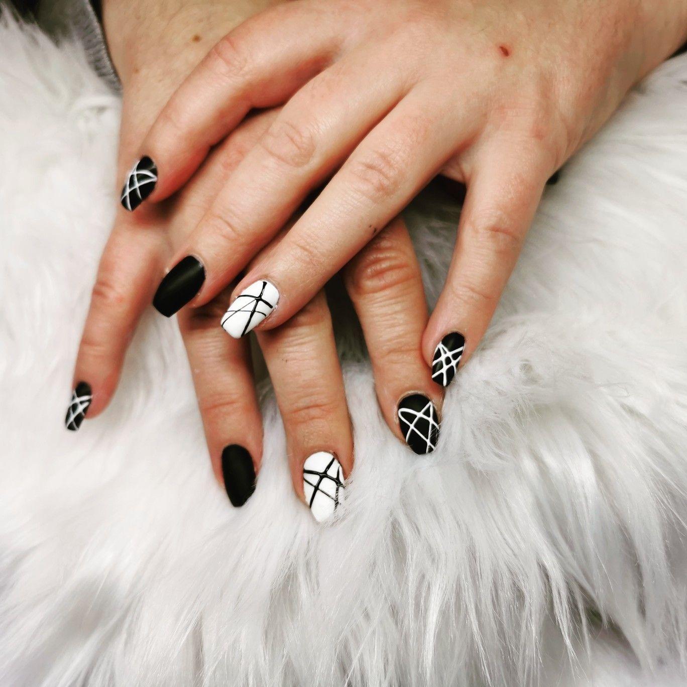 Naildesign Nägel Schwarz Weiß Nägel Schwarz Fingernägel Schwarz Weiß