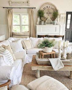 Idee per arredare un soggiorno in stile shabby chic | Living room ...