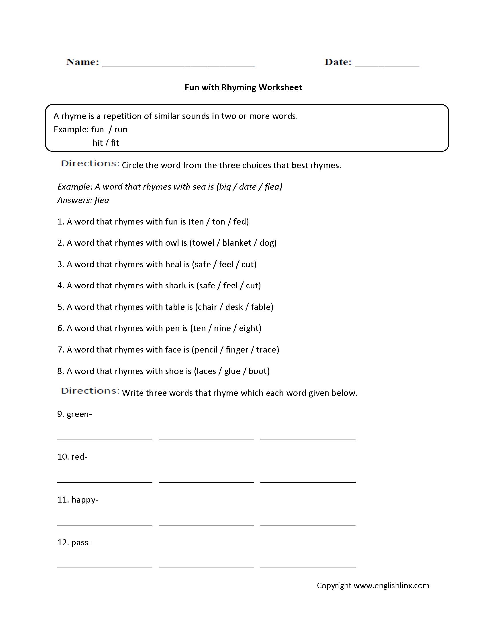 Rhyming Worksheets For Prek   Printable Worksheets and Activities for  Teachers [ 2200 x 1700 Pixel ]