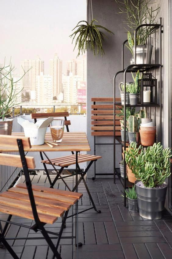 TÄRNÖ Table+2 chairs, outdoor, black acacia, gray-brown stained light brown stained steel - IKEA #smallbalconydecor