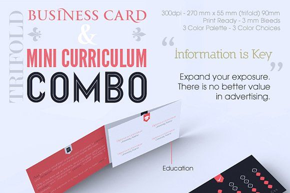 Trifold business card cv combo business cards business and card trifold business card cv combo templates descriptiontrifold business card and wajeb Images