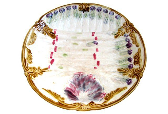 Majolica French Aparagus Plate