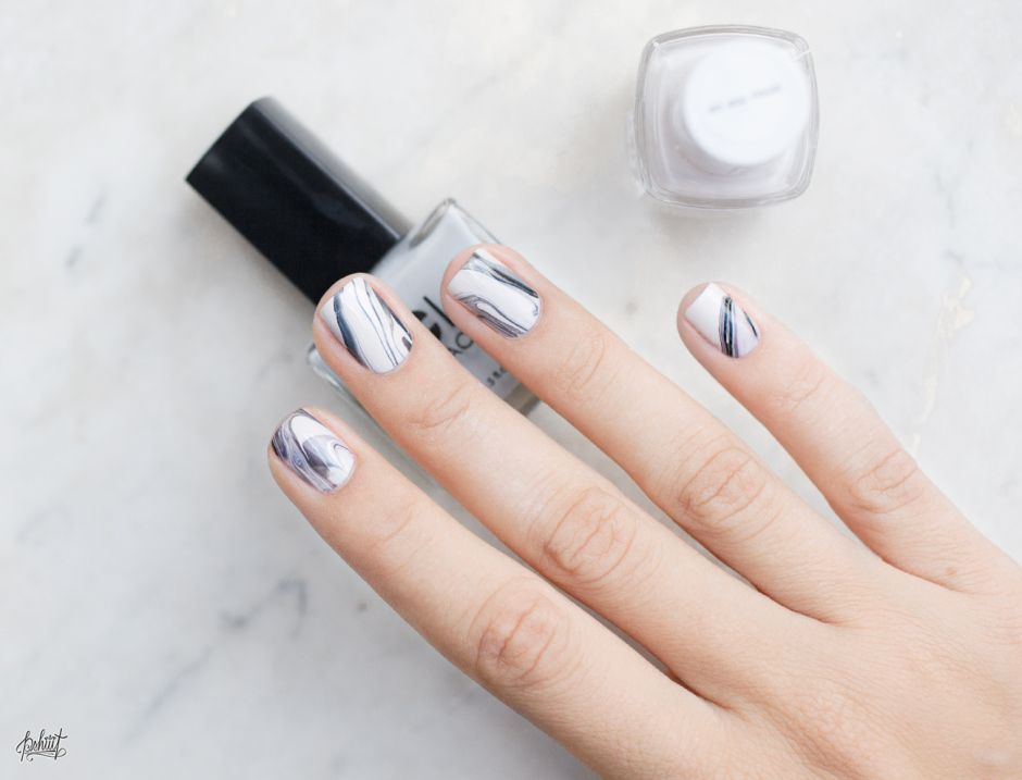 essie wrap me up base with coat coture pale grey and black marble