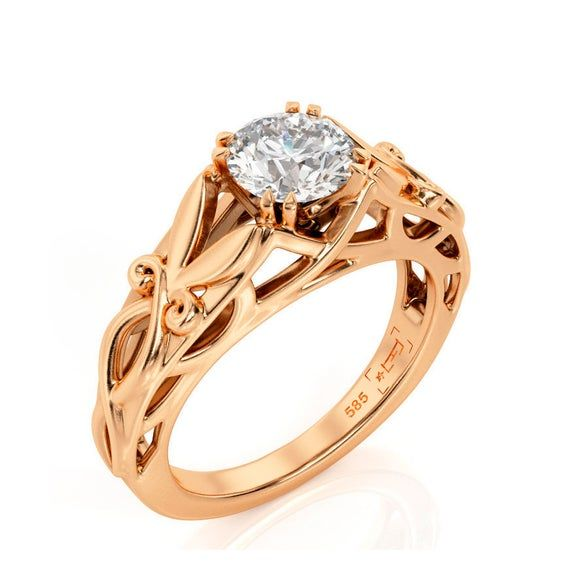 Photo of Celtic Engagement ring, Art Deco Engagement Ring, 1ct Moissanite engagement ring, engagement ring, 1.5ct moissanite ring, Braided, 2139