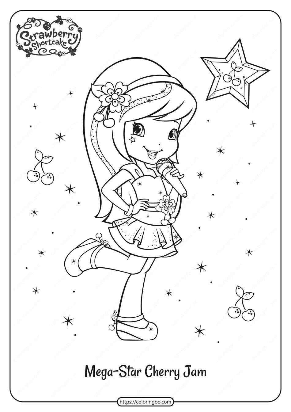 Free Printable Megastar Cherry Jam Coloring Page Strawberry Shortcake Coloring Pages Strawberry Shortcake Cartoon Coloring Pictures