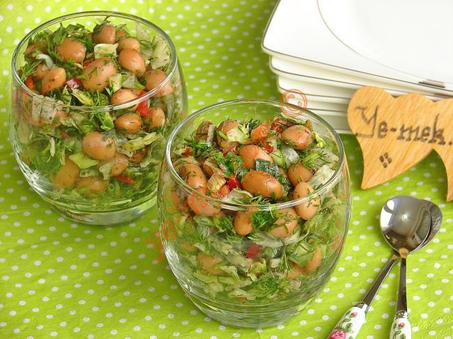 Barbunya Salatası Resimli Tarifi (pinto beans, dill, dried sumac, dried mint, lemon ; recipe in Turkish)