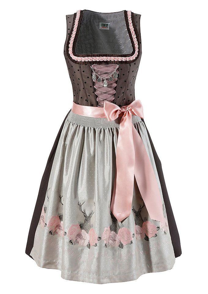 093764b3945aee Edles Dirndl in Schwarz, Grau und rosa. Auf der Schürze sind Hirschköpfe  und Blumen.