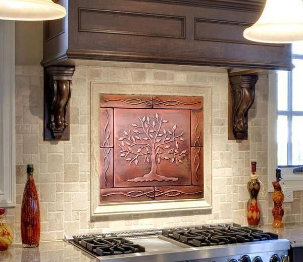 Photo of Tree of Life Kitchen Backsplash metal tiles – set of 9