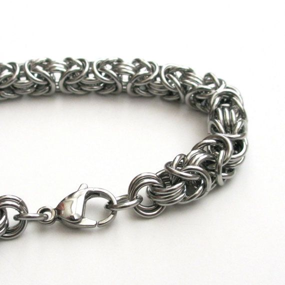 Stainless Steel Chainmail Bracelet For Men, Byzantine