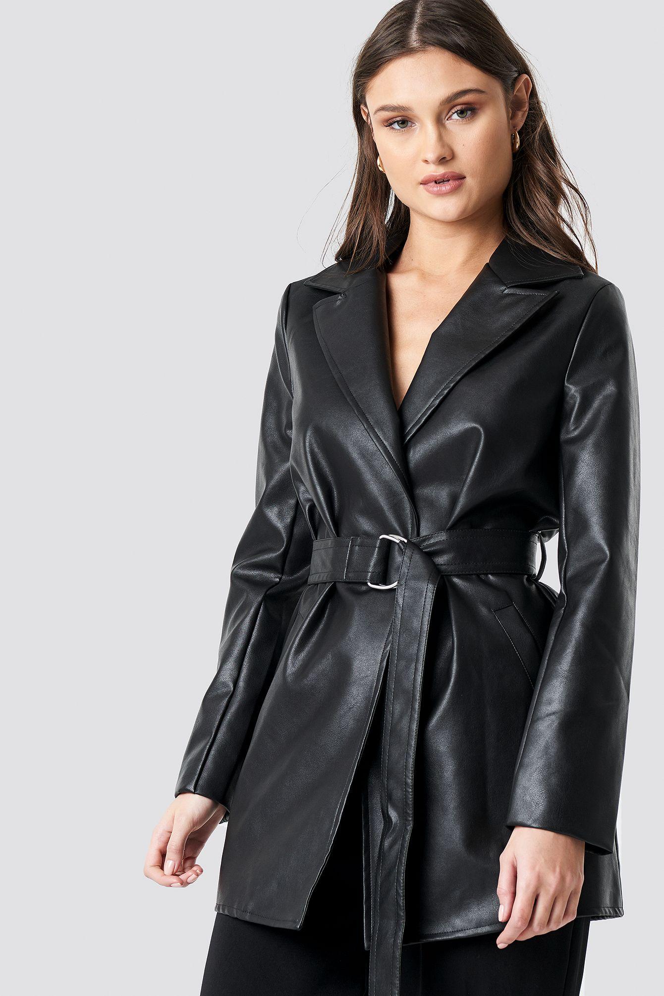 PU Leather Belted Jacket Black | na | Belted jacket