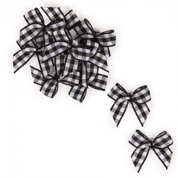 Gingham bow present toppers - set of 10