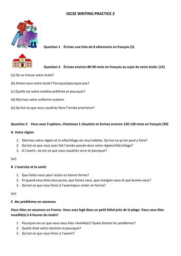 igcse french writing practice paper gcse revision hub pinterest