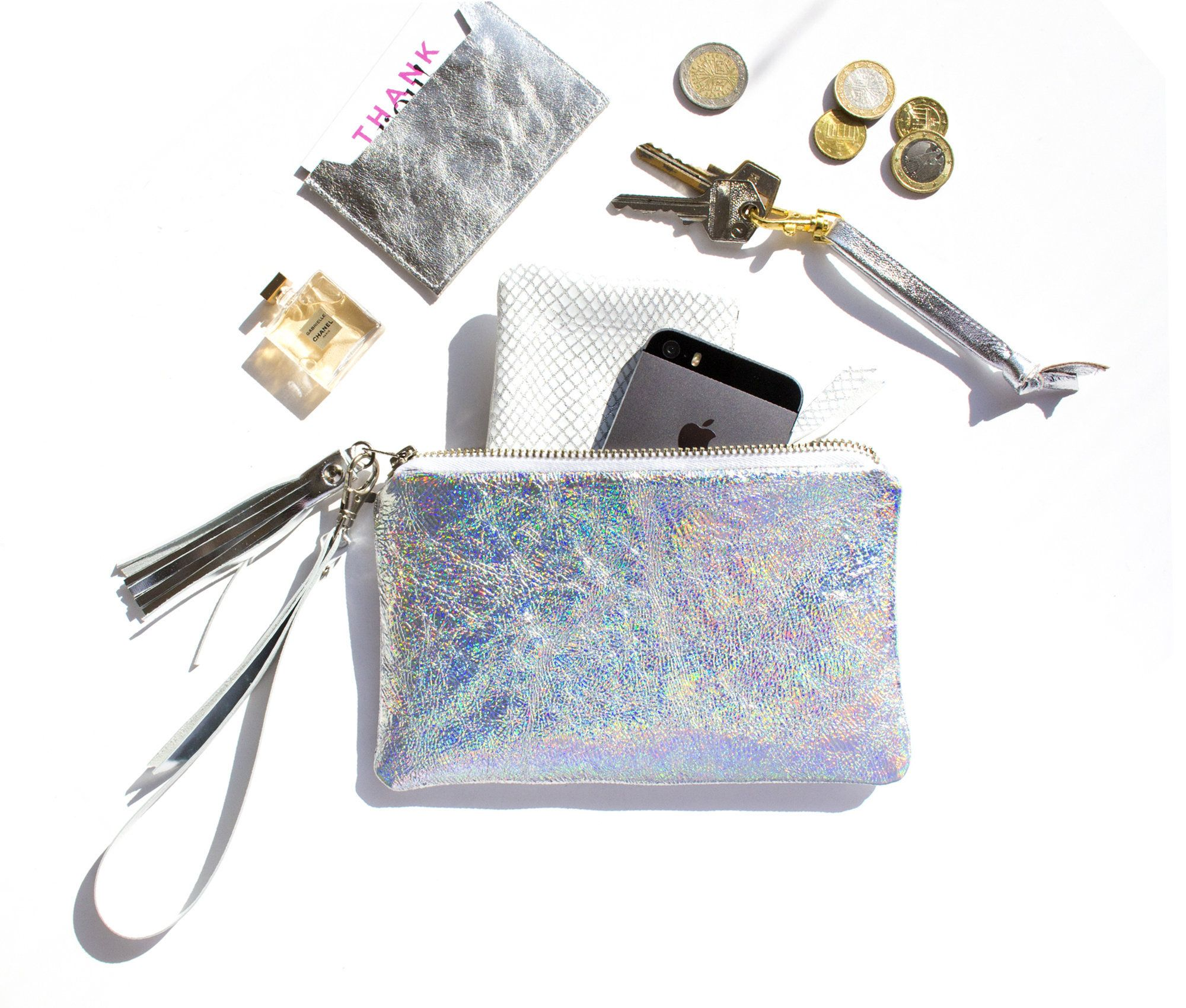 Iridescent Leather Wristlet, Hologram Leather Pouch