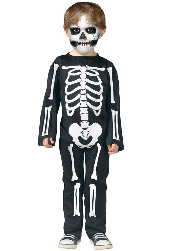 Boys Glow in the Dark Skeleton Costume Childs Halloween Fancy Dress Outfit Kids
