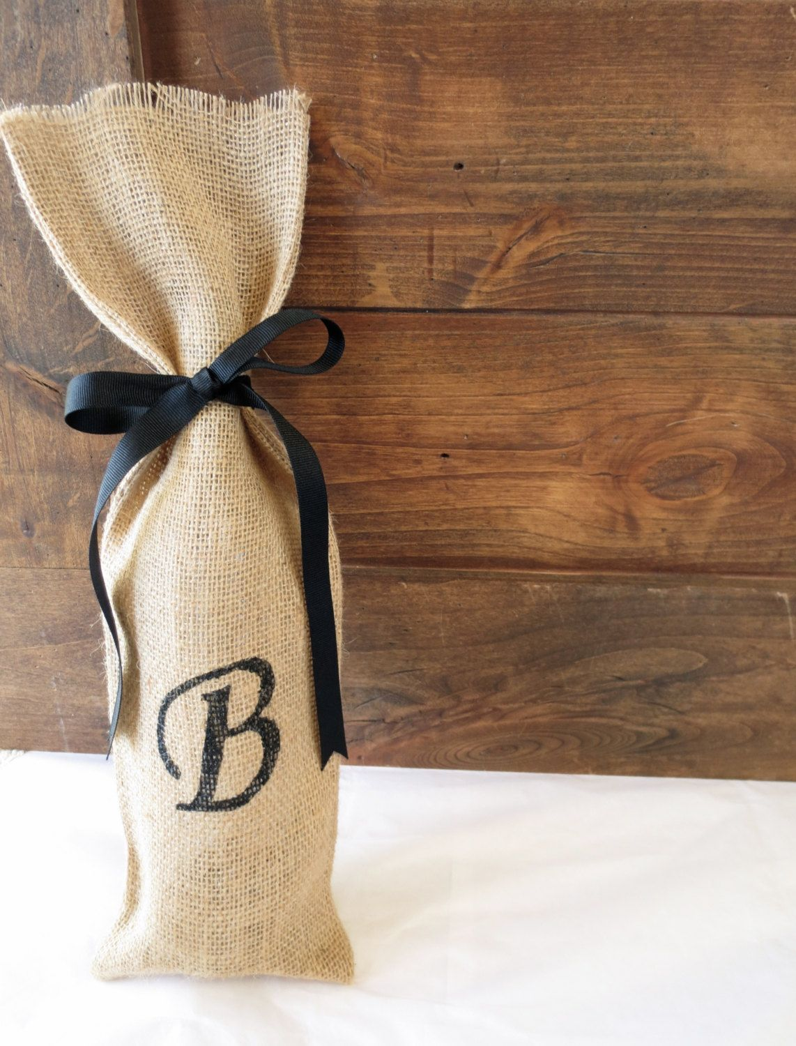 Ways to decorate gift bags - You Could Use This As A Way To Number The Tables Custom Monogram Burlap Gift Bag Personalized By Grippingglamour