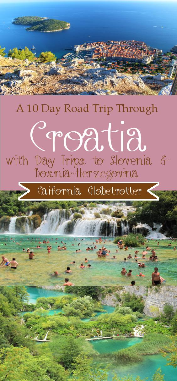 10 Day Road Trip Through #Croatia with day trips to Lake Bled & Ljubljana, #Slovenia & Mostar, #Bosnia-Herzegovina - Plitvice National Park | Krka National Park | Split | Zagreb | Zadar | Dubrovnik - Summer Road Trip - Croatian Road Trip - Balkan Road Trip - California Globetrotter #usroadtrip