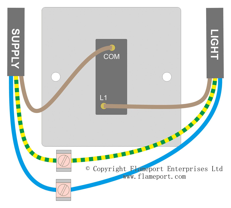 Wiring For A Single Loft Or Garage Light Light Switch Wiring Light Switch Ceiling Rose Wiring