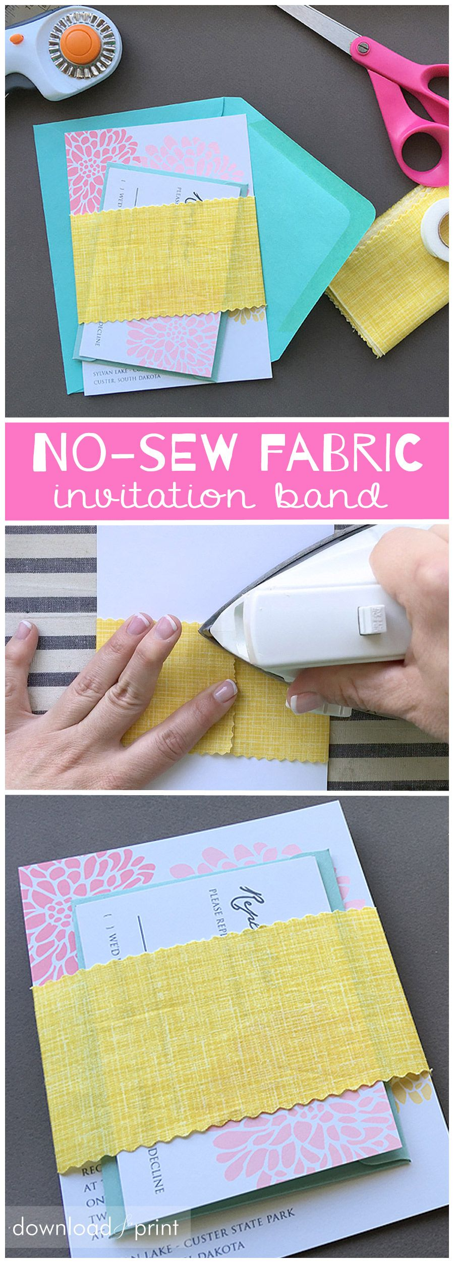 Fancy Up Your Invitations with a NoSew Fabric Band