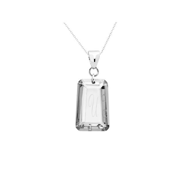 Beverly Hills .925 Sterling Silver Clear Cubic Zirconia April Birthstone Initial Pendant Necklace (Letter