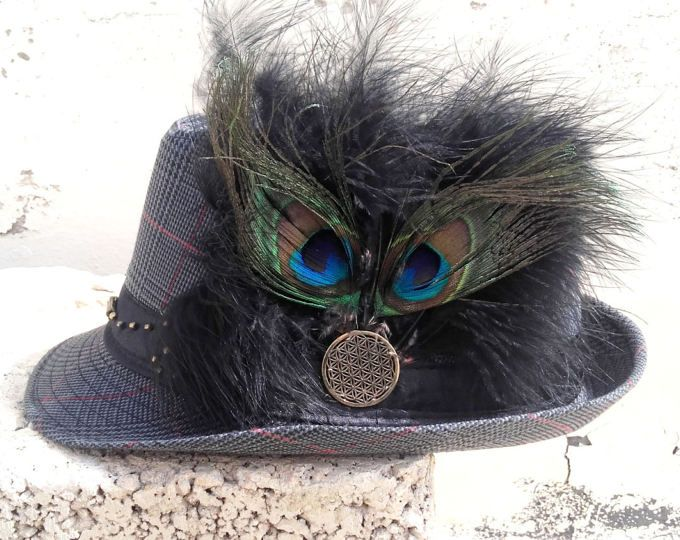 Peacock Feather Hat perfect for Goa Trance Psy Festival Ozora Boom Ultra  Ibiza. Hobo Bespoke Hat. Playa Perfect Hat for Women. Hats for Men 0e364573fffa9