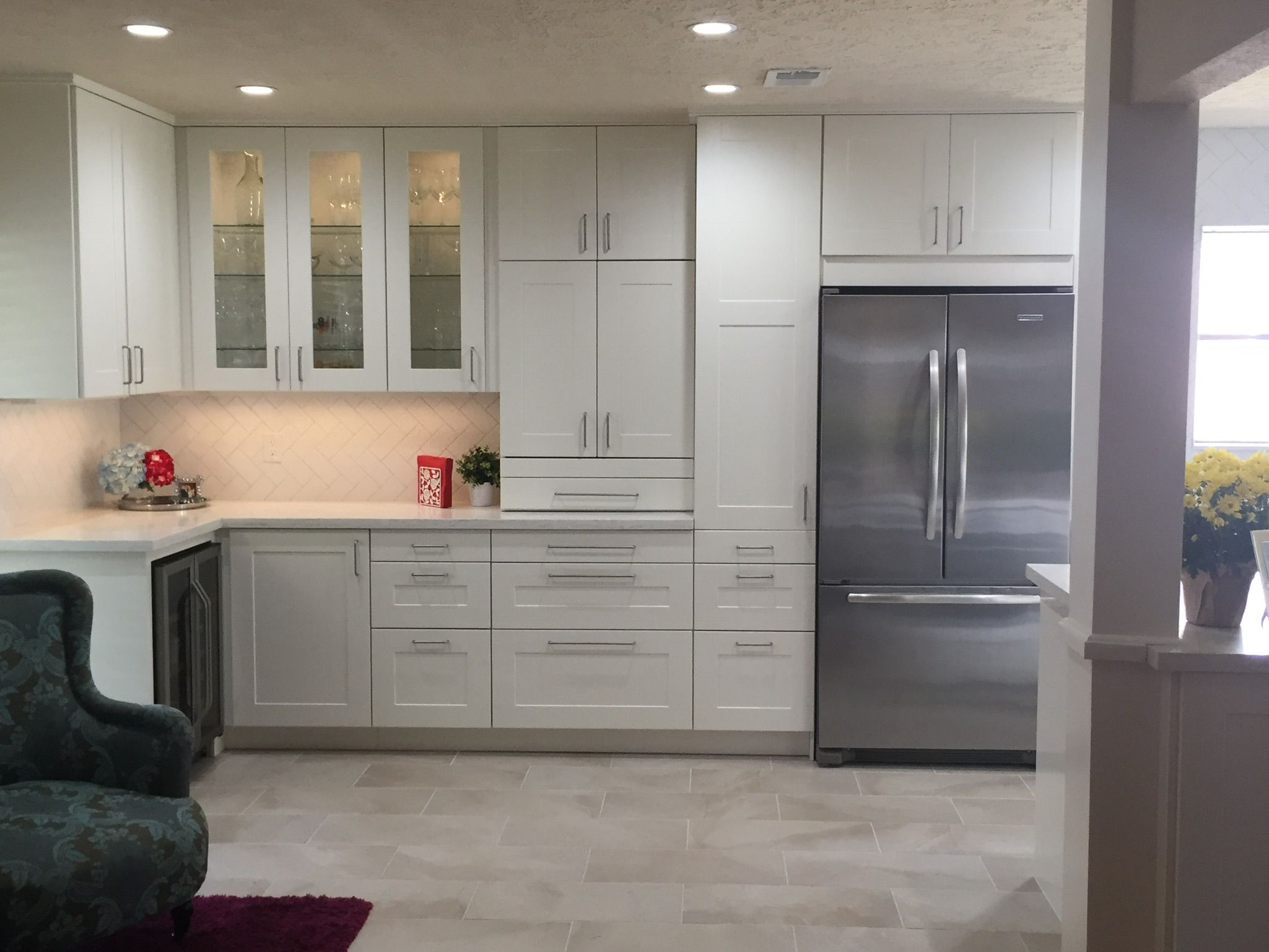 IKEA kitchen. Grimslov cabinets. Under and in cabinet lighting ...