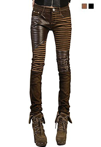 08f1f9e955 VASHOP Women's Leather Steampunk Pants Skinny Legging Tights Pencil ...